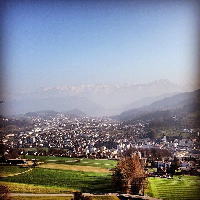 Die Aussicht vom Sonnenberg auf Luzern/Horw